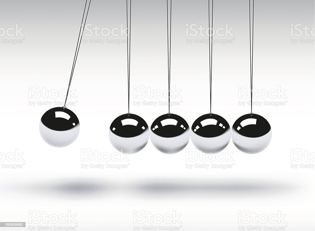 Newtons cradle showing balancing balls vector art illustration
