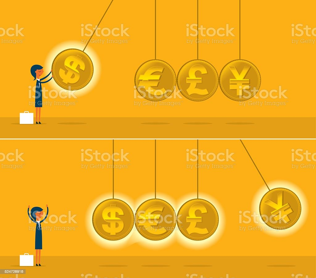 Newtons cradle with coins vector art illustration