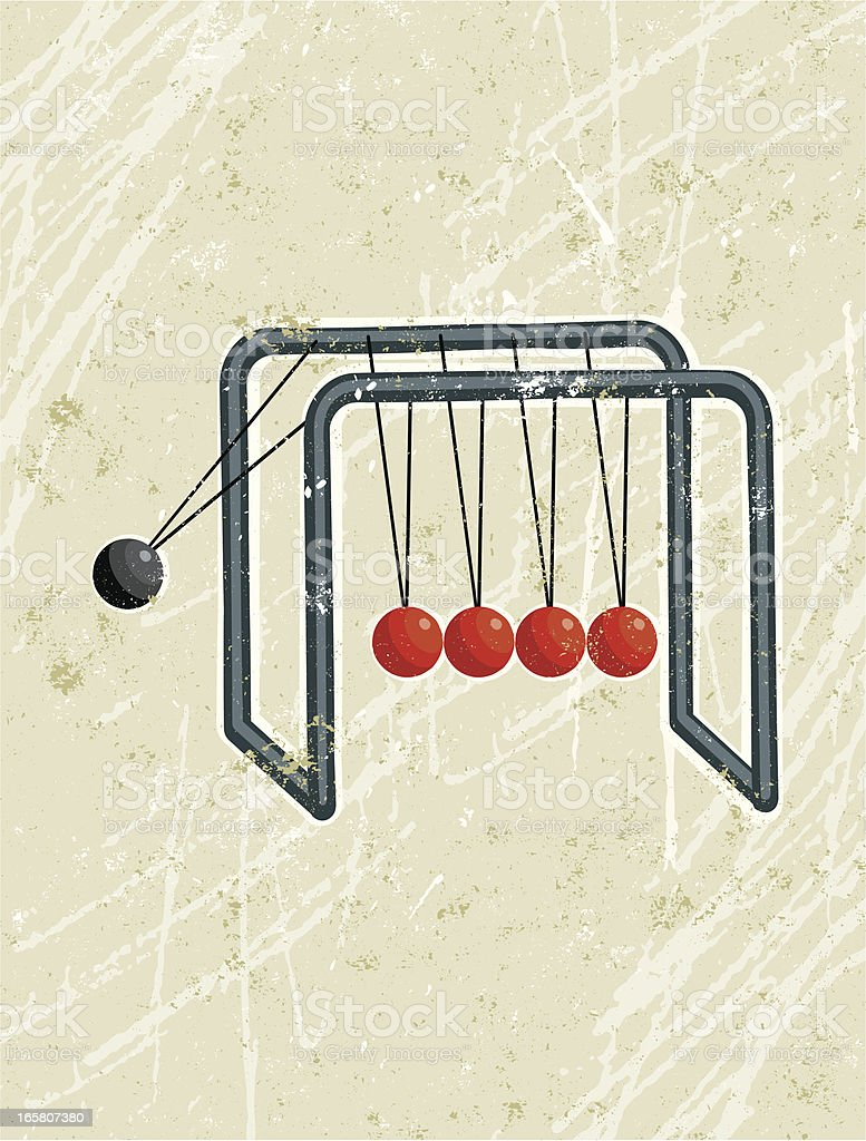 Newton's cradle with Red and black balls vector art illustration