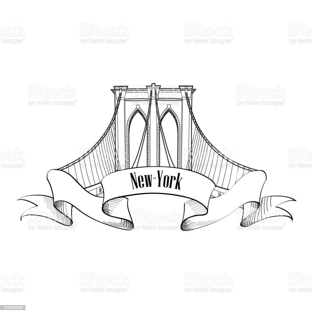 New-York Brooklyn Bridge Symbol Arch sign vector art illustration
