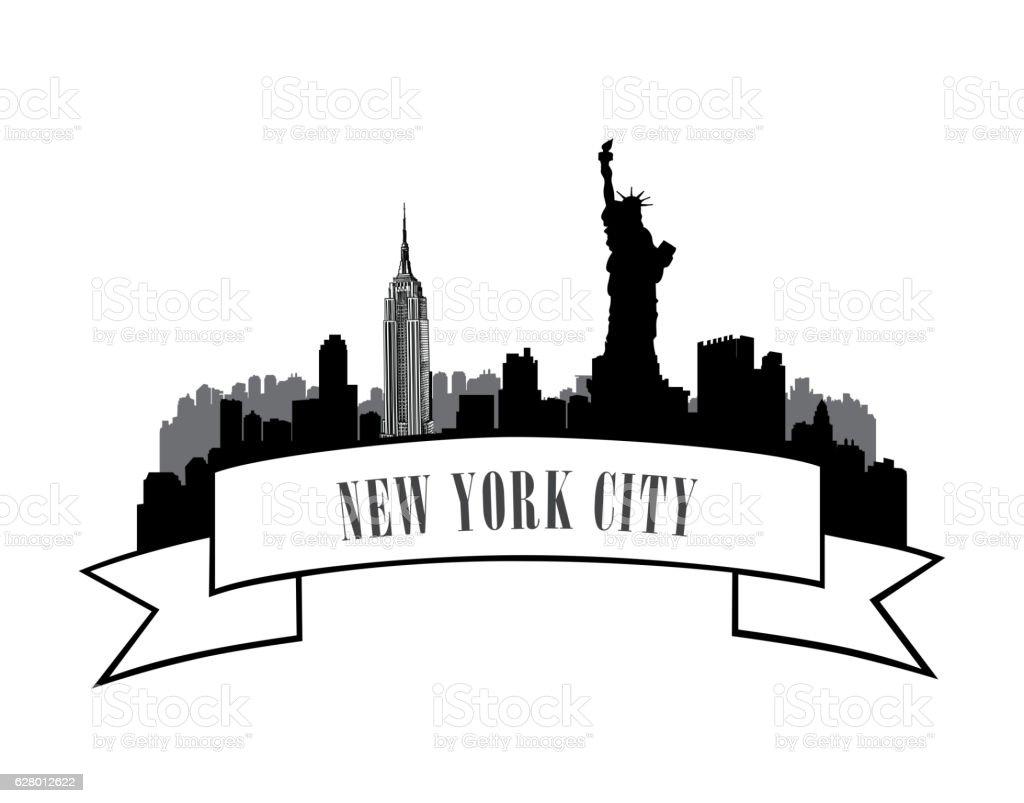 New-York, USA skyline sketch city silhouette vector art illustration