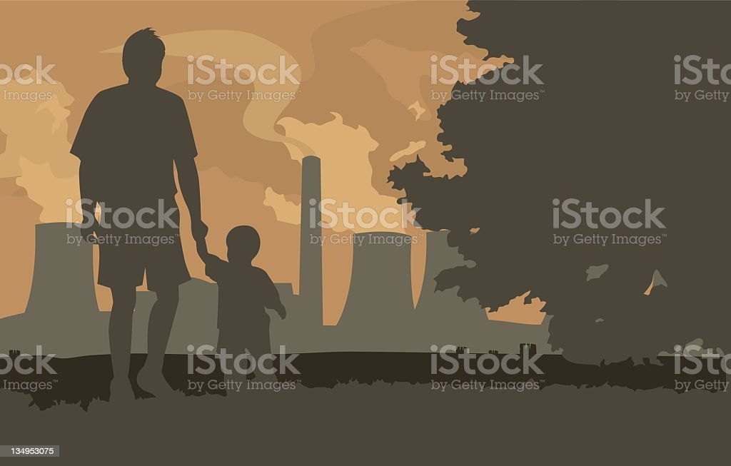 Next Generation , father and son walking into the sunset royalty-free stock vector art
