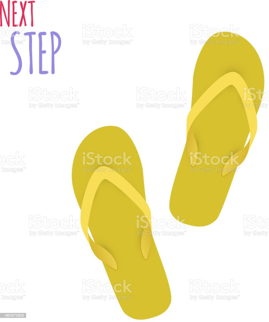 Next Step. Slippers. Banner. Vector vector art illustration