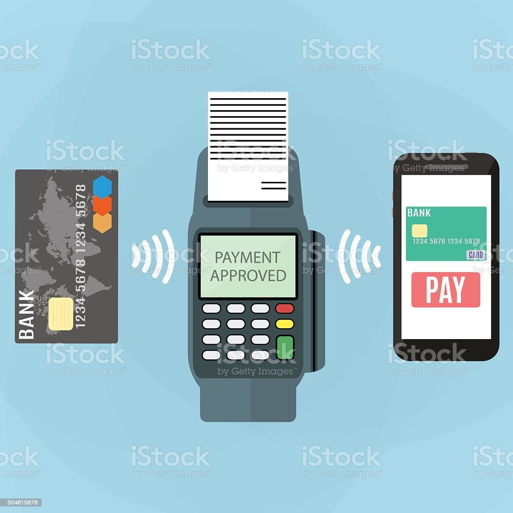 Nfc payment flat design style vector art illustration