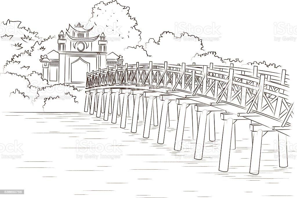 Ngoc Son Temple in Vietnam vector art illustration