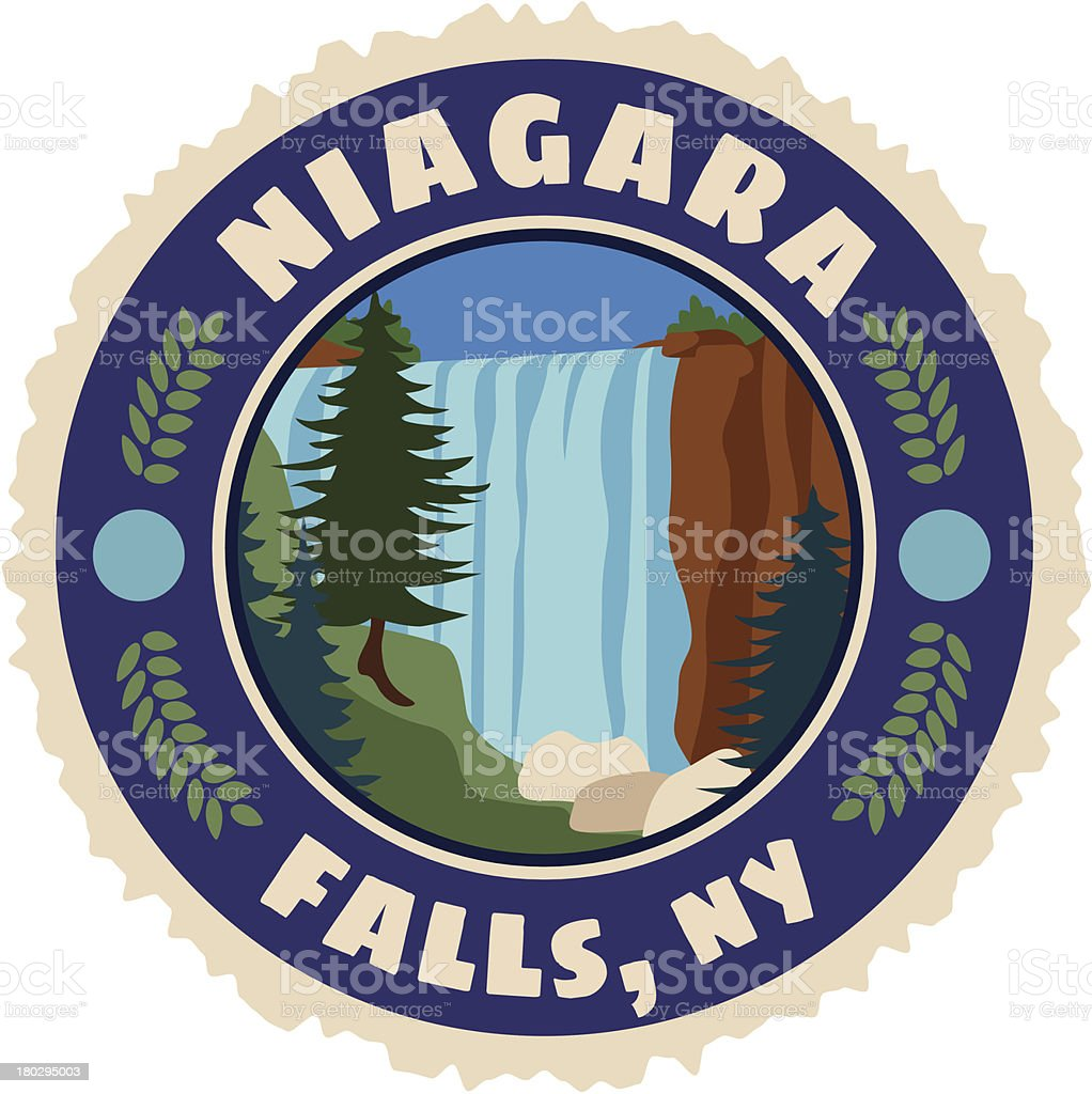 Niagra Falls luggage label or travel sticker vector art illustration