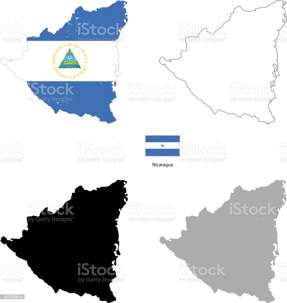 Nicaragua country black silhouette and with flag on background vector art illustration