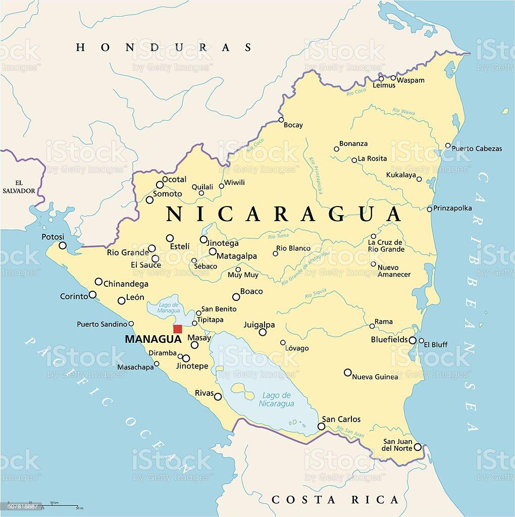 Nicaragua Political Map stock vector art 507818887 iStock