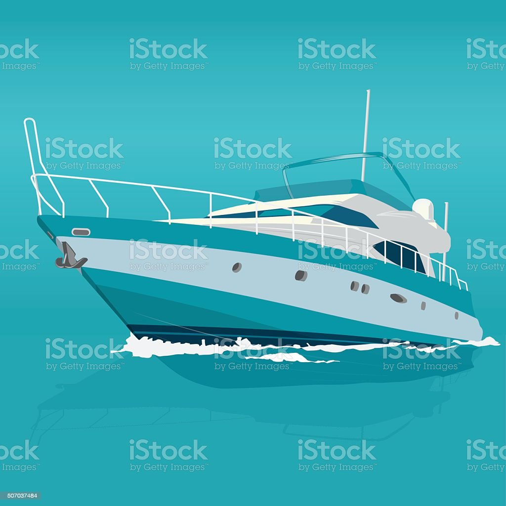 Nice blue motor boat on sea, fishing on a ship. vector art illustration