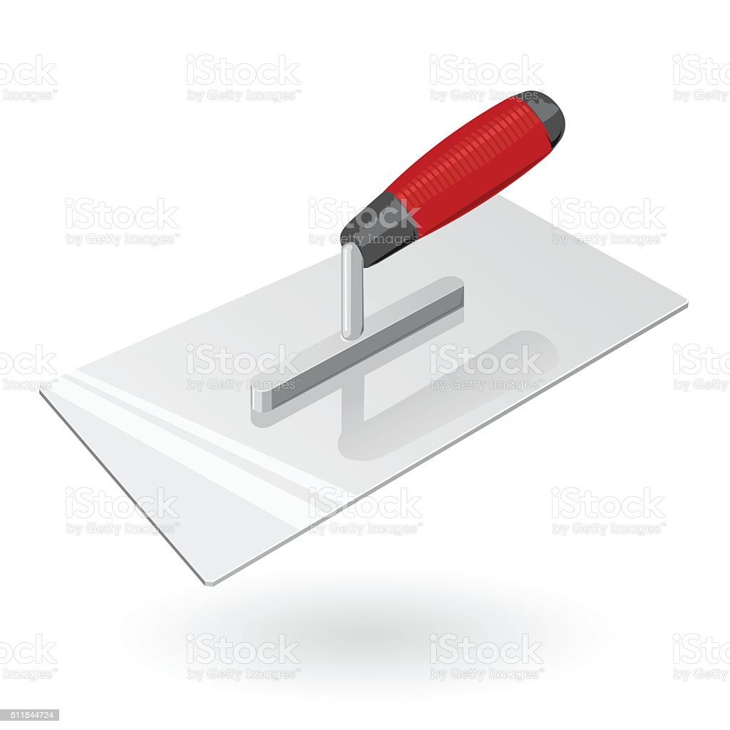 Nice classical red metal four-sided stucco trowel on white. vector art illustration