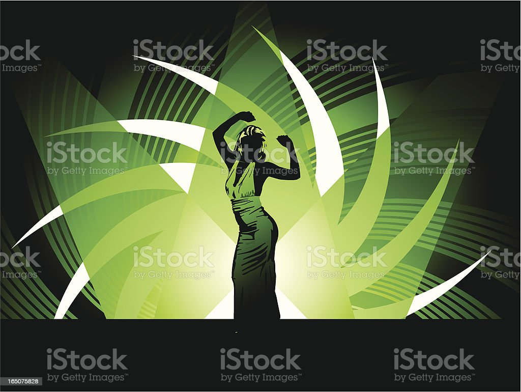 Nice Girl Dancing on Stage royalty-free stock vector art