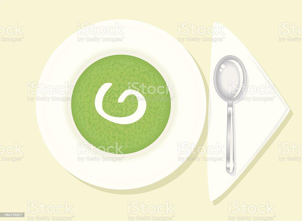 nice green Cress-Soup. vector art illustration