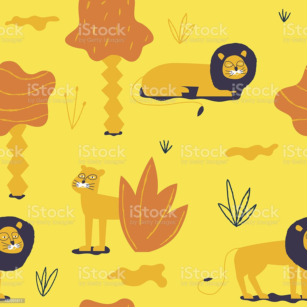 Nice lions in the African sunny landscape royalty-free stock vector art