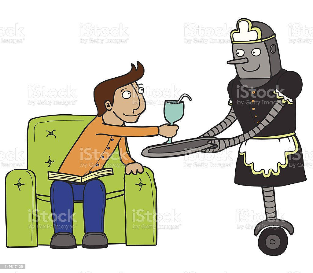 nice maid robot vector art illustration