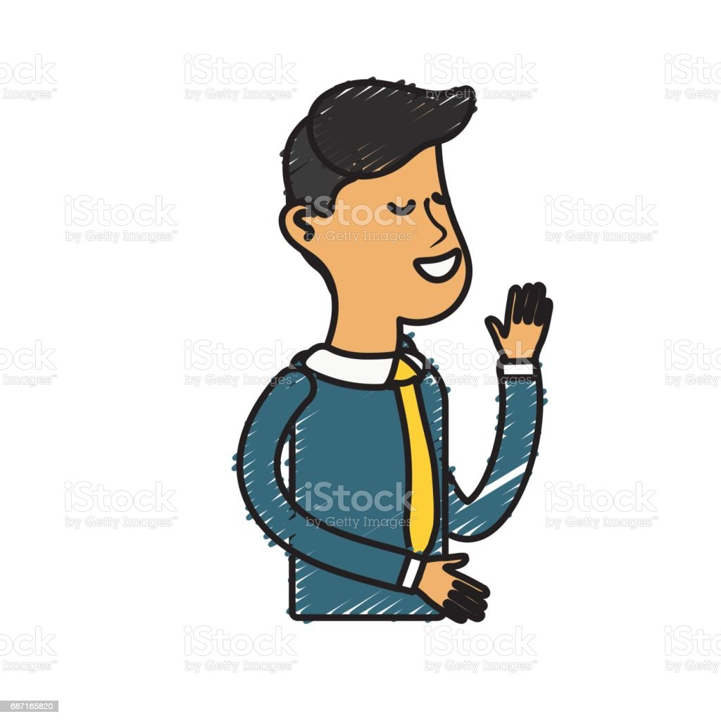 nice man with tie and sweater wear vector art illustration