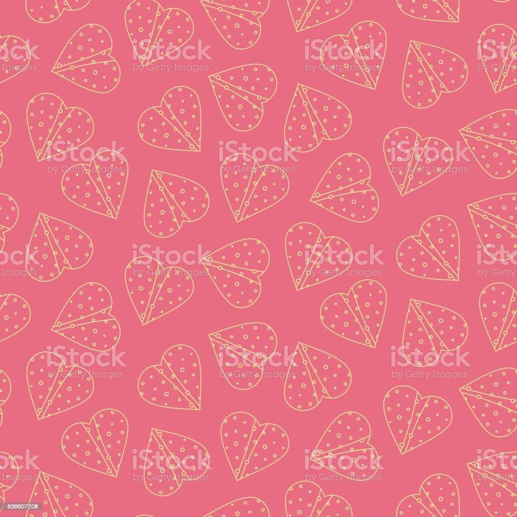 Nice outline tortilla hearts seamless pattern on pink background vector art illustration