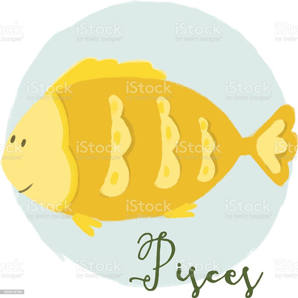 Nice pisces horoscope sign vector art illustration