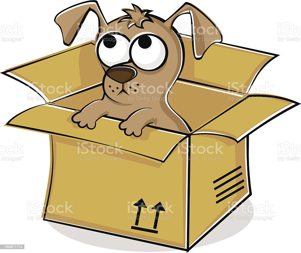 Nice puppy in box royalty-free stock vector art
