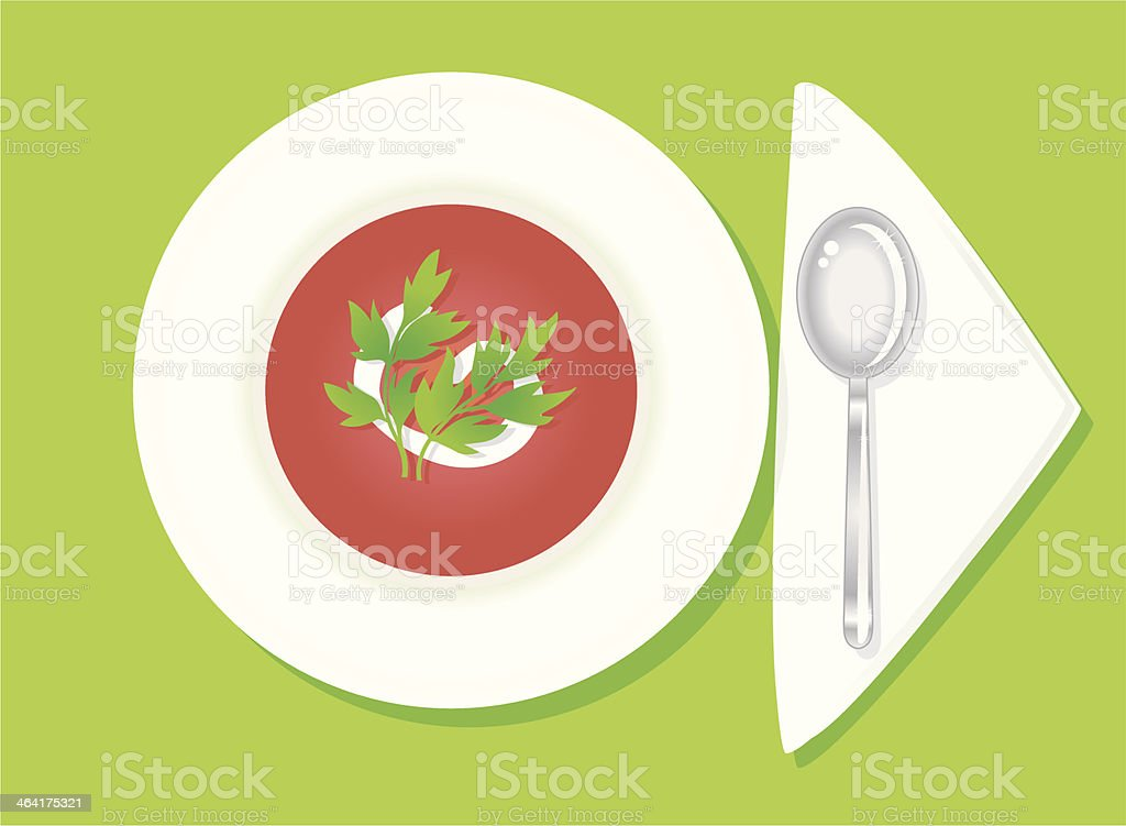 nice tomato soup vector art illustration