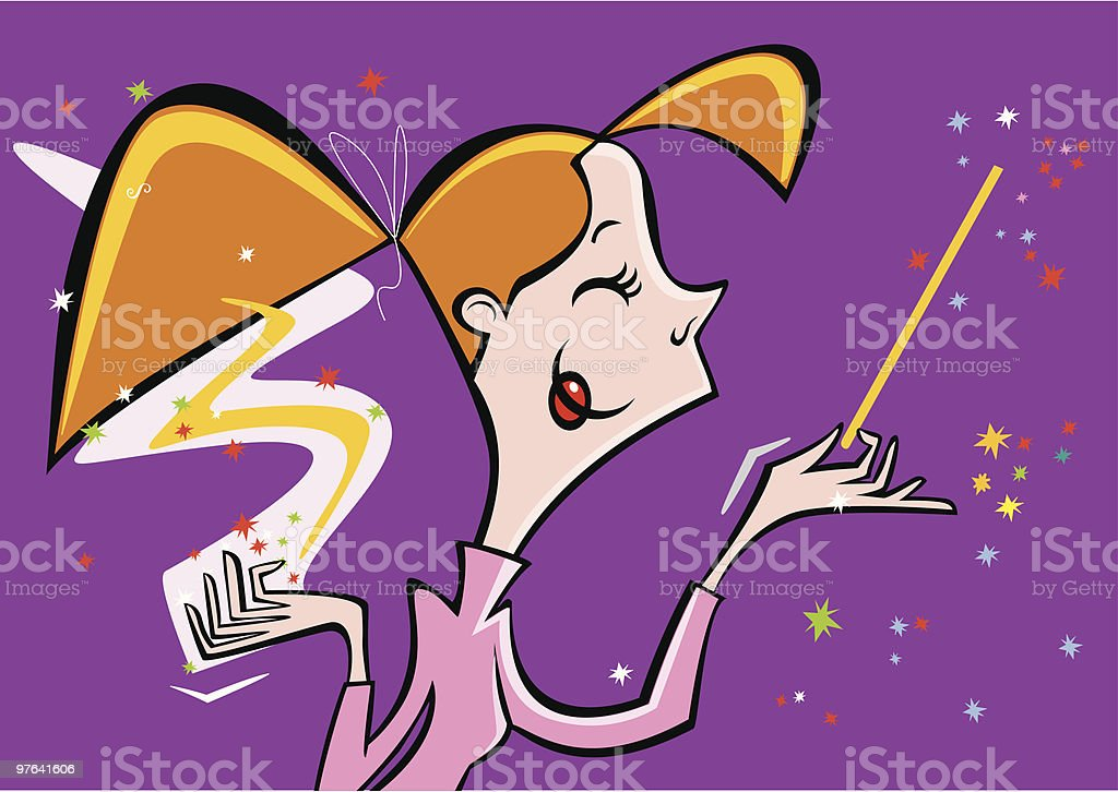 Nice witch with wand royalty-free stock vector art