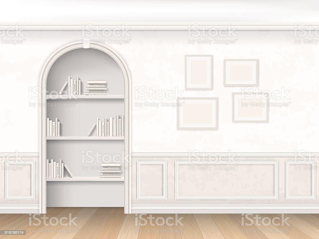 Niche with books on shelves vector art illustration