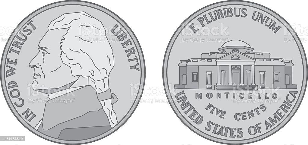 US Nickel Coin vector art illustration