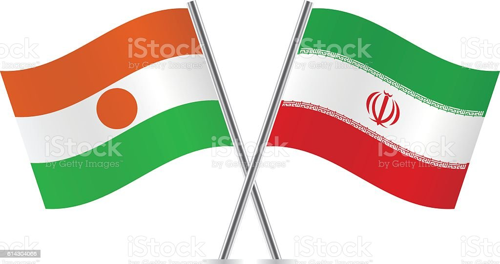 Niger and Iran flags. Vector. vector art illustration