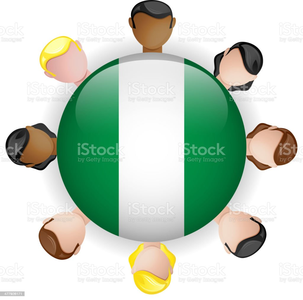 Nigeria Flag Glossy Button with People royalty-free stock vector art