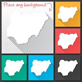 Nigeria Map for design, Long Shadow, Flat Design