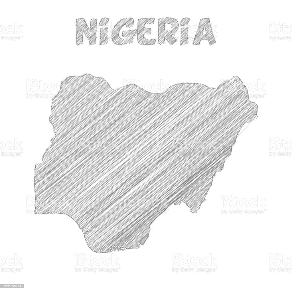 Nigeria map hand drawn on white background vector art illustration