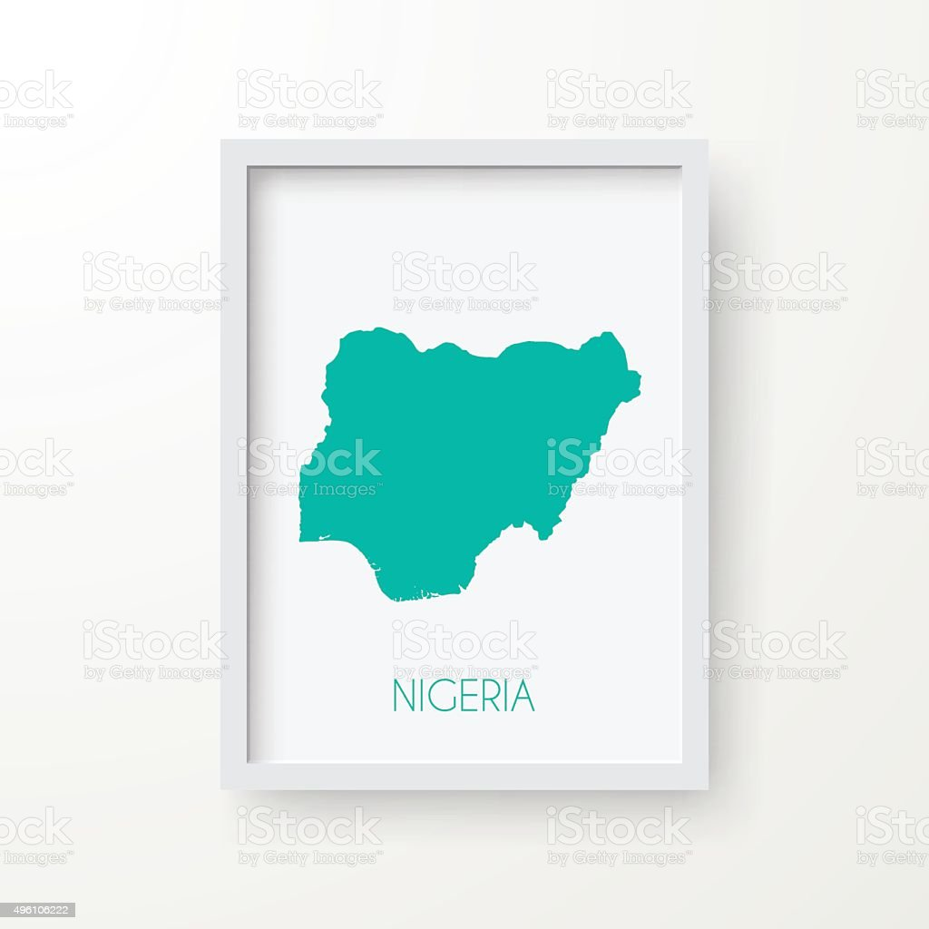 Nigeria Map in Frame on White Background vector art illustration