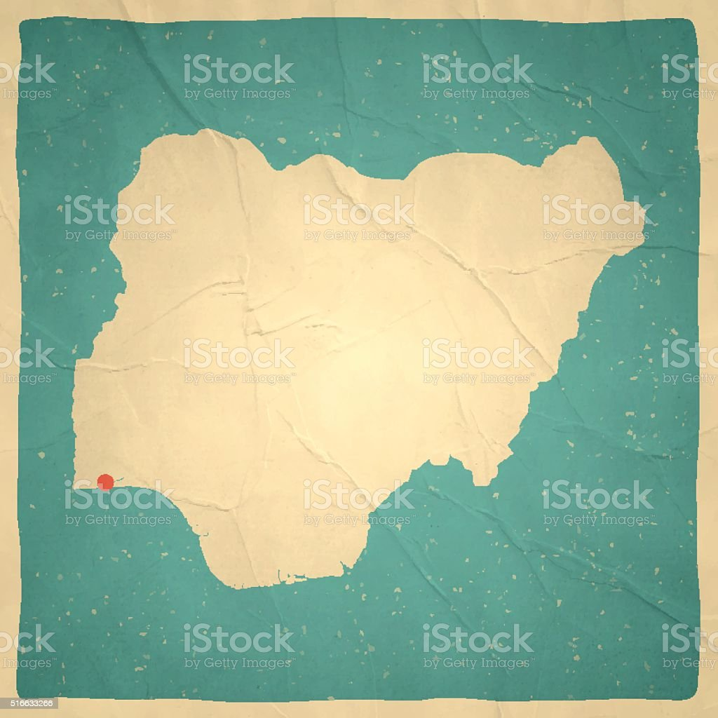 Nigeria Map on old paper - vintage texture vector art illustration
