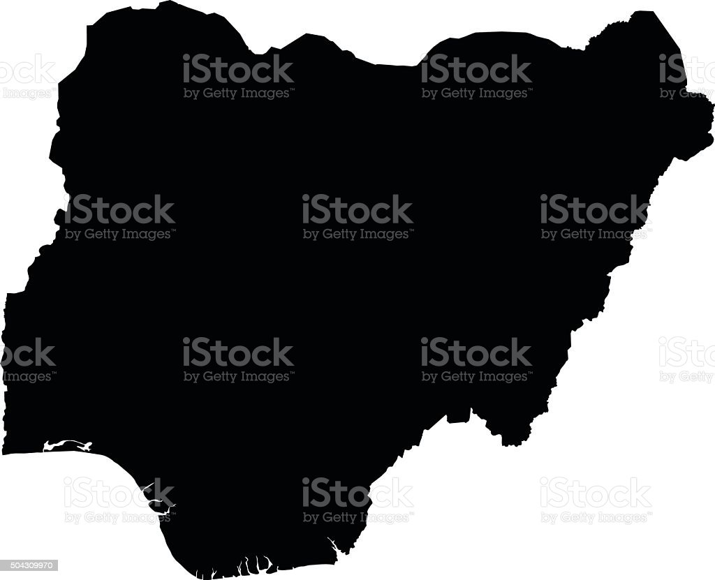 Nigeria map on white background vector vector art illustration
