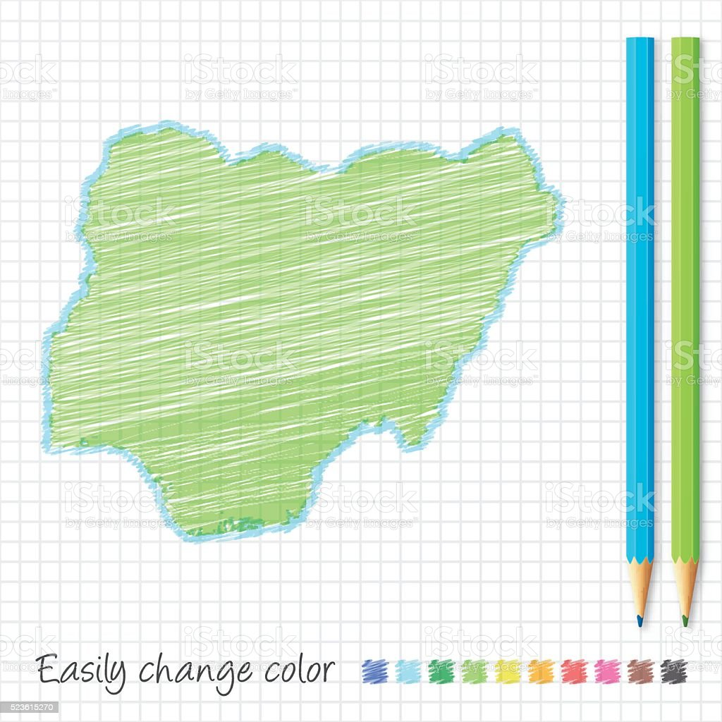Nigeria map sketch with color pencils, on grid paper vector art illustration