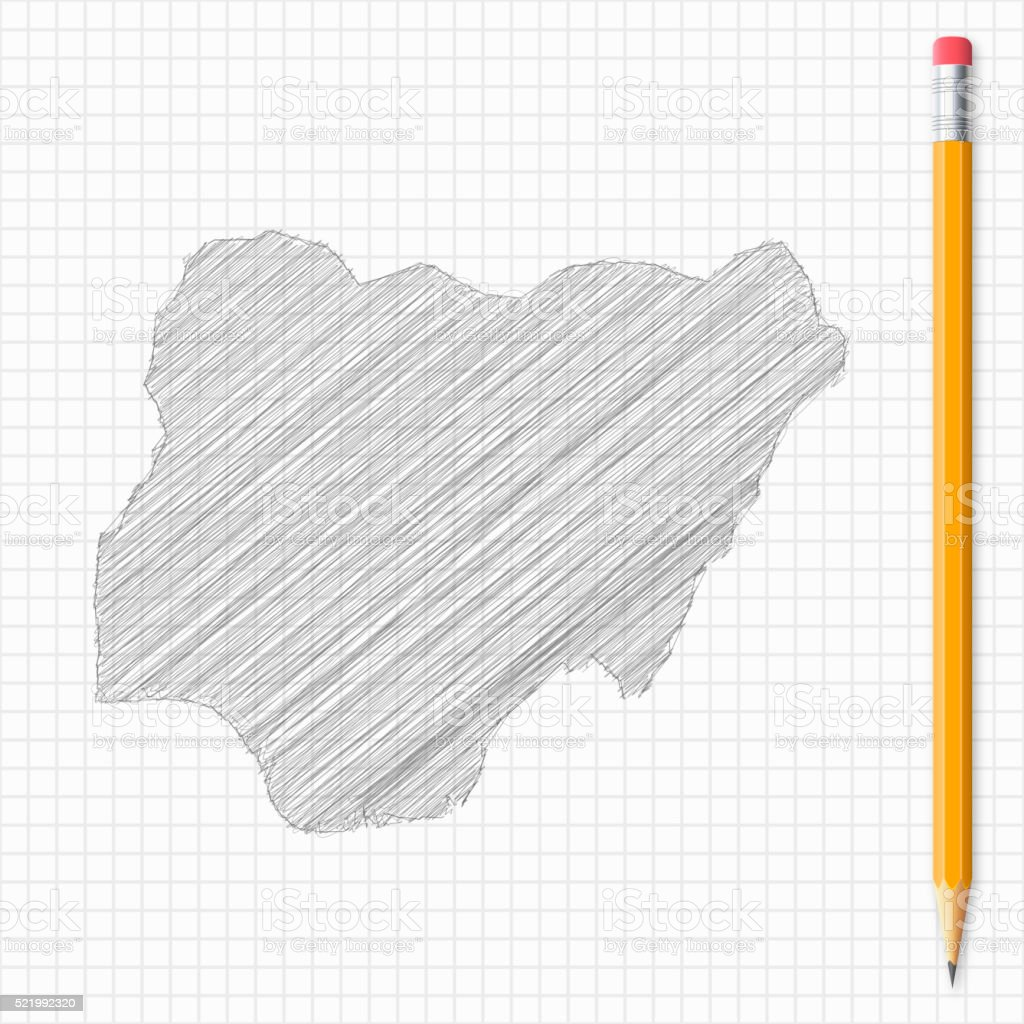 Nigeria map sketch with pencil on grid paper vector art illustration