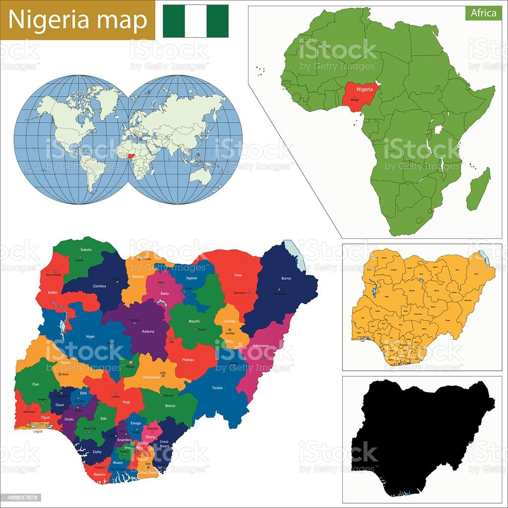 Nigeria map vector art illustration