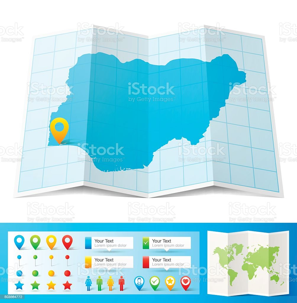 Nigeria Map with location pins isolated on white Background vector art illustration