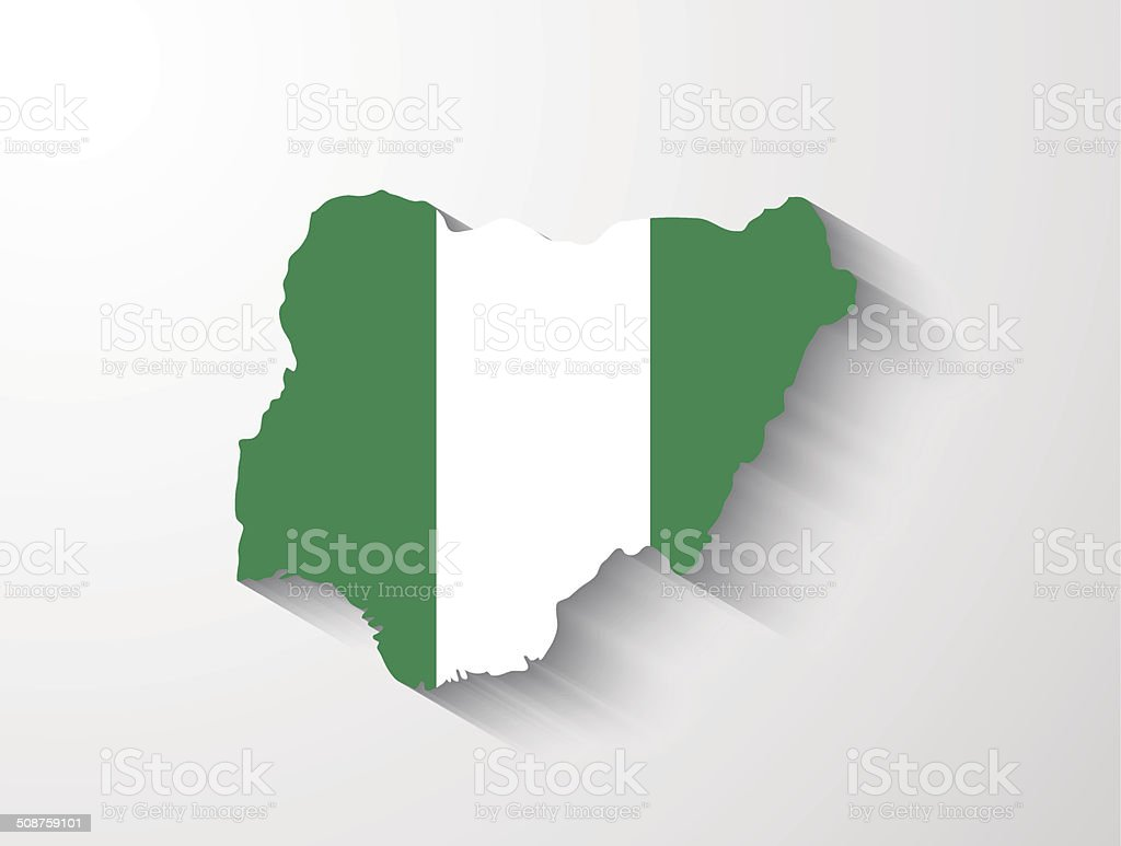 Nigeria map with shadow effect vector art illustration