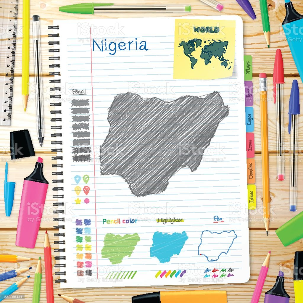 Nigeria maps hand drawn on notebook. Wooden Background vector art illustration