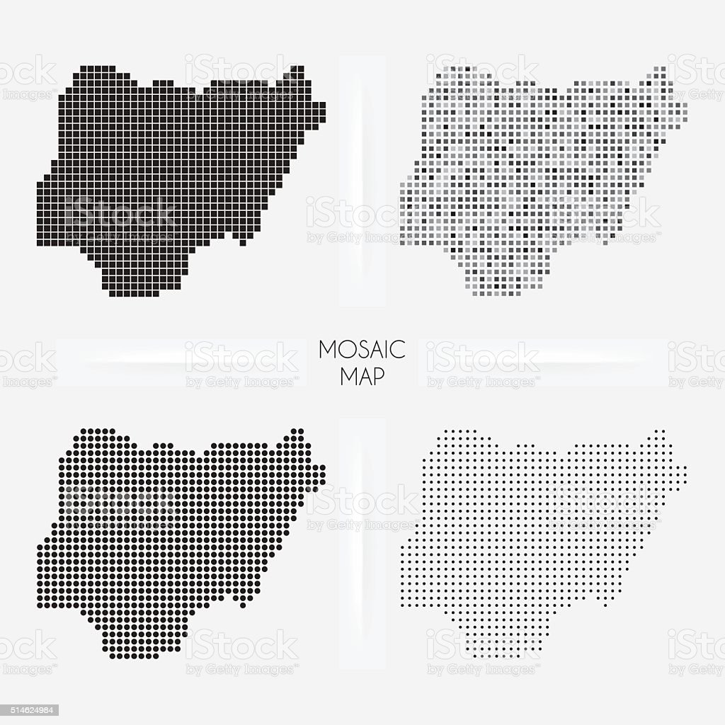Nigeria maps - Mosaic squarred and dotted vector art illustration