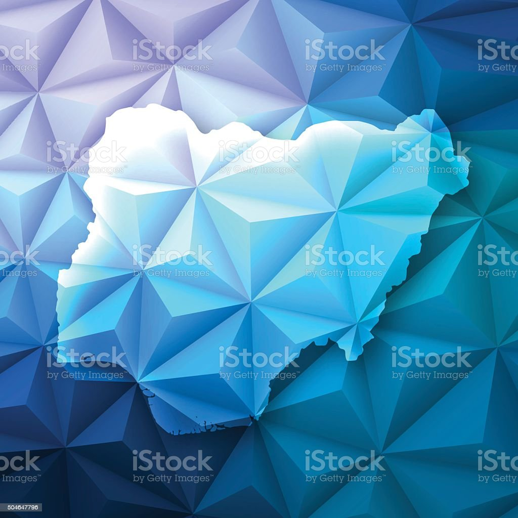 Nigeria on Abstract Polygonal Background - Low Poly, Geometric vector art illustration