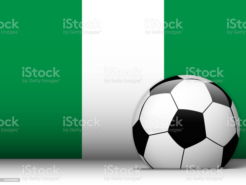 Nigeria Soccer Ball with Flag Background royalty-free stock vector art