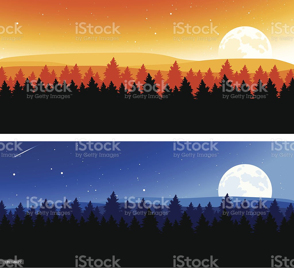 Night and Day Background vector art illustration