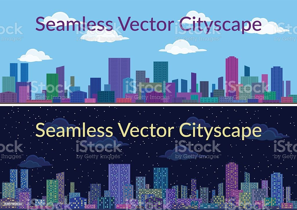 Night and Day City Landscape vector art illustration