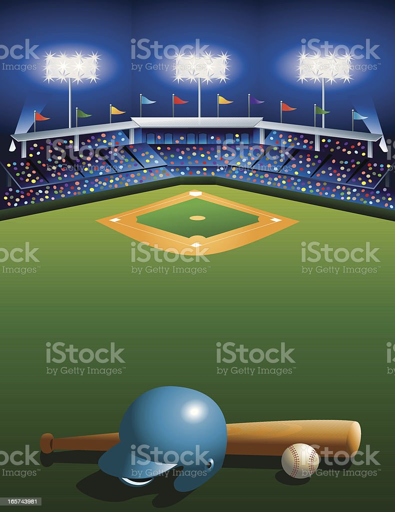 Night at the Ballgame! vector art illustration