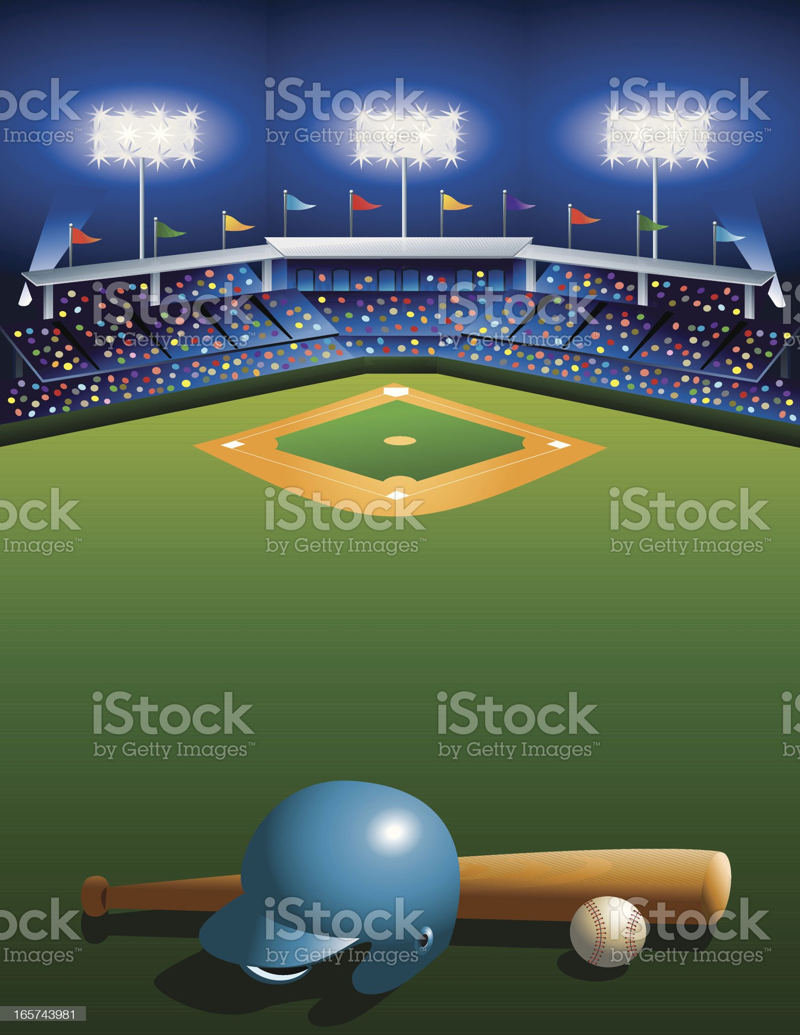 Night at the Ballgame! royalty-free stock vector art