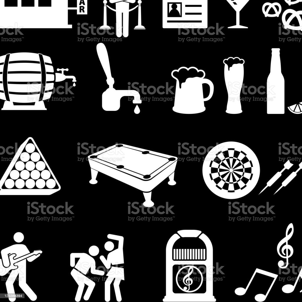 night at the bar vector icon set on black royalty-free stock vector art