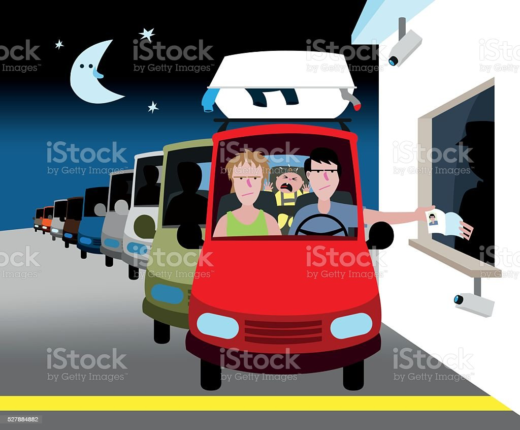 Night at the customs vector art illustration