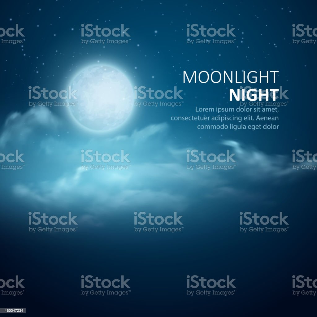 Night background, Moon, Clouds and shining Stars on  blue sky vector art illustration