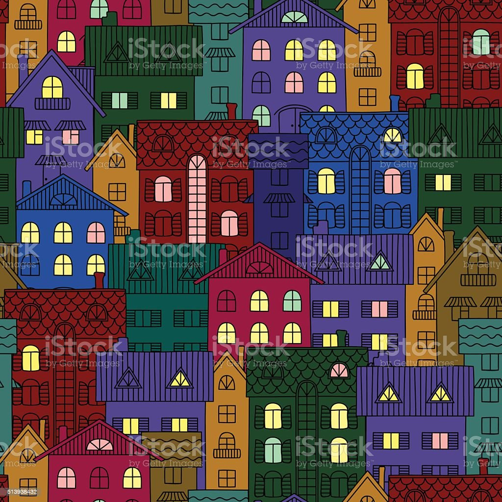 Night background of colorful houses vector art illustration